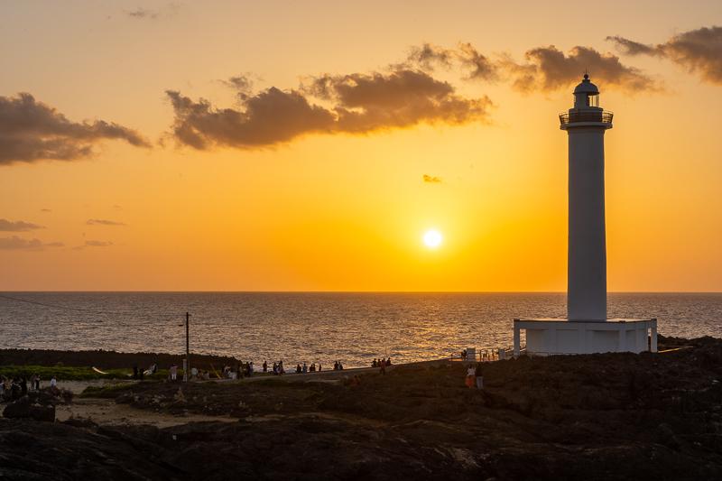 残波岬と夕日